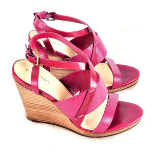 Cole Haan Burgundy Wedge Heel Sandals